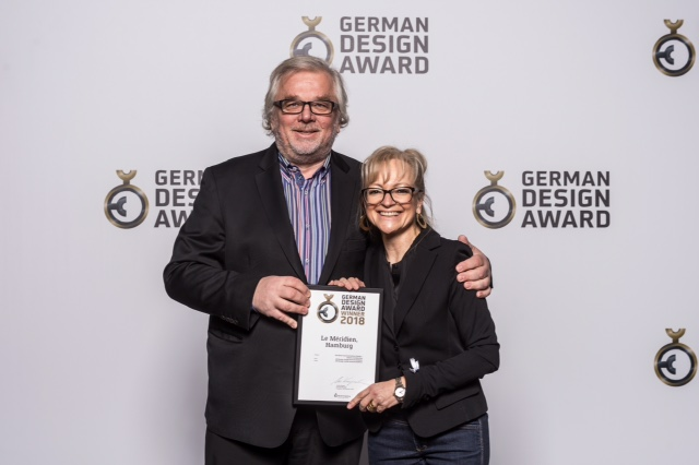 Munich Hotel Partners Presse News: Le Méridien Hamburg gewinnt German Design Award 2018 - Corinna Kretschmar-Joehnk und Peter Joehnk von JoI Design